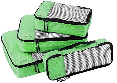 AmazonBasics Kleidertaschen-Set, 4-teilig, je 1 kleine, mittelgroße, große & schmale Packtasche, Grün