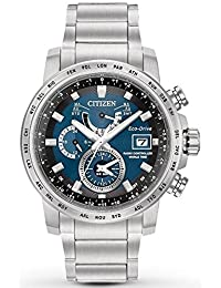 Citizen Watch World Time A.T Men's Solar Powered Watch with Blue Dial Analogue Display and Silver Stainless Steel Bracelet At9070-51L