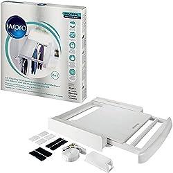 Wpro Sks101Accessoires pour machines à laver et sèche-linge, kit d'empilage avec étagère, compatible avec entre la machine à laver et sèche-linge, universel pour toutes les marques, 60x 60cm Avec étagère et tringle blanc