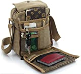 Men's Canvas Shoulder Messenger Rucksack Backpack School Travel Bag Satchel (Brown) (BP0040)