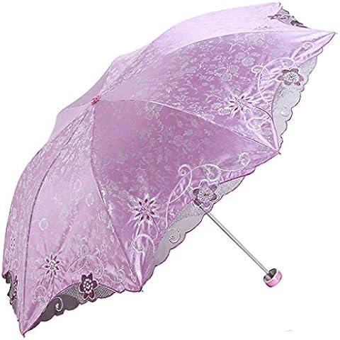 Reforzar El Sol paraguas bordado mujer dulce portátil ( Color : Pink )