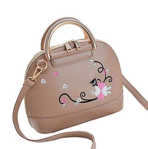 Damenbekleidung Stickerei Umhängetasche Messenger Bag Wildpaket Handtasche Shell Paket Einfache Mode Brown