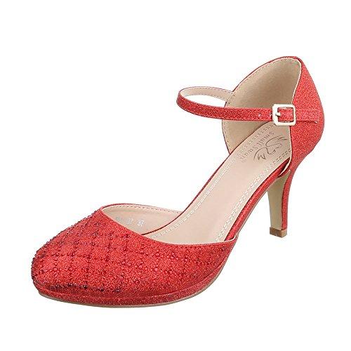 Ital-Design High Heel Damen-Schuhe Plateau Kleiner Trichter High Heels Schnalle Pumps Rot, Gr 39, 5015-37-