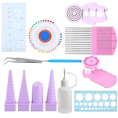 11Pcs Papier Craft outils pour quilling kit de moule à pince à sertir Peigne Règle broches Buddy Ensemble de décoration de fleurs