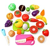 TOYMYTOY Pretend Play Cutting Fruit Toy Set Food Playset 20Pcs(Random Color)