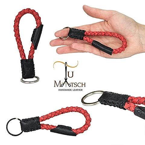 Echtleder Schlüsselanhänger geflochten in Handarbeit hergestellt! Schlüsselband aus Leder für Damen und Herren, Unisex – Farbe: Rot / Schwarz