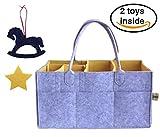 Gran bebé pañales para pañales organizador de cambio gris y amarillo fieltro portátil pañales (42x 24cm Universal Nursery Organizador Almacenamiento Bin para toallitas, Kid juguetes de almacenamiento cesta para coche viaje bebé ducha