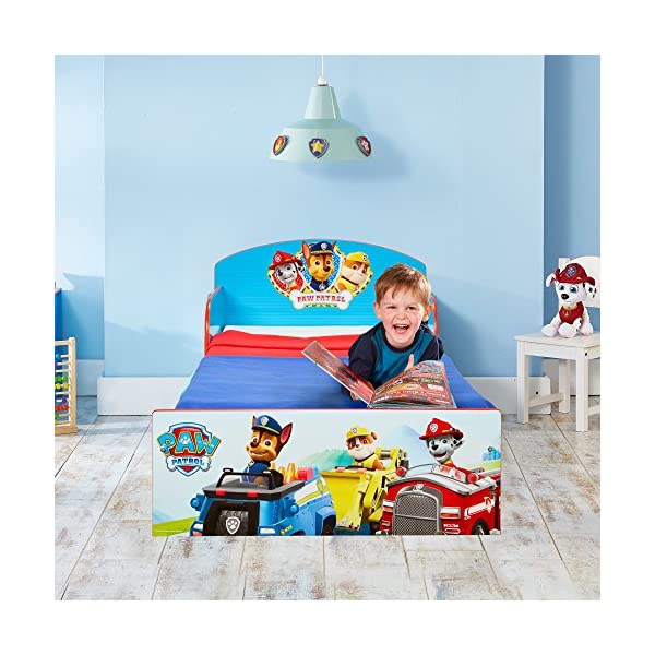 Paw Patrol Kids 505PWP Toddler Bed by HelloHome - Red/Blue Paw Patrol Drift off dreaming with your favourite Paw Patrol characters. Perfect size for toddlers, low to the ground with protective and sturdy side guards to keep your little one safe and snug. Fits a standard cot bed mattress size 140cm x 70cm, mattress not included. Part of the Paw Patrol bedroom furniture range from HelloHome 8