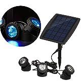 Docooler RGB 3Color LED Light Solar Energy Outdoor Garden Pool Pond Lamp Headlamp