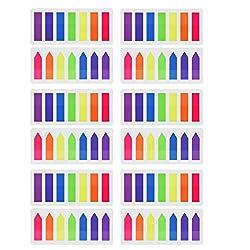 Pyhot 1680Stück Index Taben Flaggen, 12Sets Neon Seite Marker Lesezeichen Text Textmarker Streifen, Sticky Notes 12X 45Mm