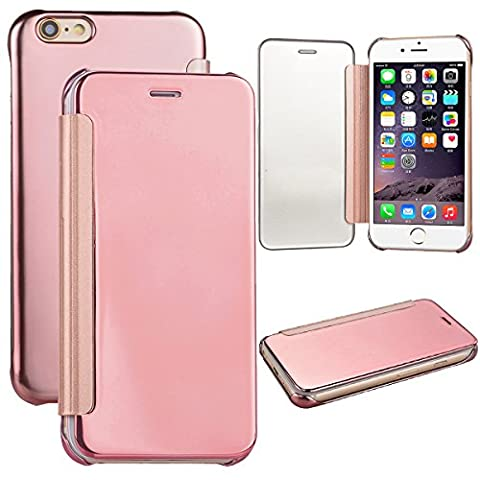 Coque iPhone 6, Housse iPhone 6S Rose d'or, GrandEver Etui PU Flip Miroir Surface PU Leather Case Folio Cover Couverture Coque Folio Housse Protective Cover Protector Coquille pour Apple iPhone 6/iPhone 6S (4.7