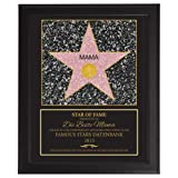 Star Of Fame – Beste Mama - Hollywood Stern – Urkunde - Personalisiert mit Jahreszahl - Druck gerahmt - Wanddeko im dunklen Bilderrahmen – Originelles Geburtstagsgeschenk – ca. 35 x 45 cm