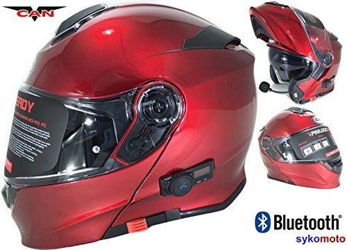 CASCO MOTO MODULAR VCAN V271 BLUETOOTH INCASCO MOTO MODULAR VCAN V271 BLUETOOTH INTEGRADO ECE HOMOLOGADO INTEGRAL PARA MUJER HOMBRE ADULTOS CON DOBLE VISERA SCOOTER BORGOÑA (L (59-60 CM))