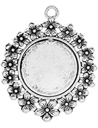 Housweety 5 Pendentifs Supports de camee Rond Fleur 5.2x4.2cm (pr camee 25mm Dia.)