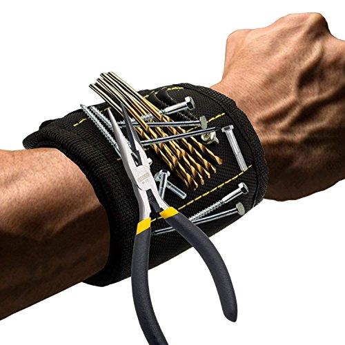 SODIAL Magnetisches Armband mit starken Magneten DIY-Maenner Schraube Geschenk Nagel Schrauben bohren Befestigungselemente Schere und andere tragbare Werkzeuge