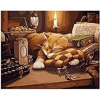 Baoblaze DIY Pintura sin Marco por Números de Lona Decoración de Sala de Estar Dormitorio de Casa - Gato dormido