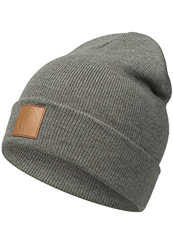 Occulto Leatherpatch Winter Mütze Beanie in verschiedenen Farben (Charcoal)