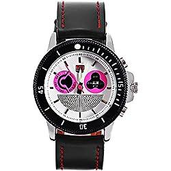 Leopard Shop TVG 469 Digital Quartz Sport Wristwatch Double Movt Men Watch Day Alarm Luminous LED Display Chronograph Pink White