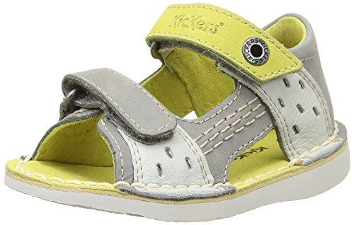 Kickers Wasabi bis, Baby Jungen Lauflernschuhe fÜr Babys, Grau - Grau - Gris (Gris Clair/Citron) - Größe: 21 (Schuhe Citron)