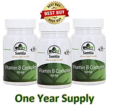 VITAMIN B COMPLEX ? TRIPLE PACK ? 1 Year Supply of (UK Manufactured) Premium Quality Easy To Swallow Vitamins. Contains all 8 essential B vitamins including B12 plus Biotin & Folic Acid. SUITABLE FOR VEGETARIANS. by Sentia