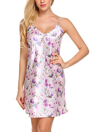 Avidlove Damen Satin Nachthemd Negligee Babydoll Dessous Lingerie Nachtwäsche Kleid Sleepwear Sling Nachtkleid Unterkleid Unterrock Miederkleid Minikleid Reizwäsche Kleid Lila