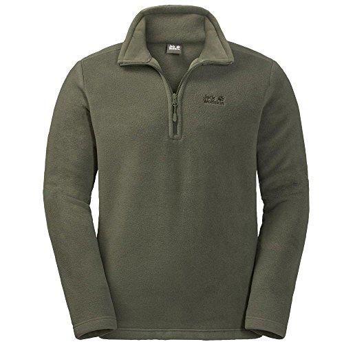 Logo Fleece Pullover (Jack Wolfskin | Herren Fleece Pullover | Stehkragen | Logo Rücken | Nanuk 200 (L, Pinewood))