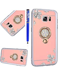 EUWLY Samsung Galaxy S6 Edge Plus Case,Samsung Galaxy S6 Edge Plus Silicone Case Cover,Women Girl Bling Glitter Crystal Diamond Soft Tpu Silicone Case with 360 Degree Rotation Ring Holder Support Ultra-slim Thin Anti-Scratch Anti-shock Flexible Silicone Back Soft Smart Phone Sleeve for Samsung Galaxy S6 Edge Plus + 1 x Blue Stylus Pen - Rose Gold