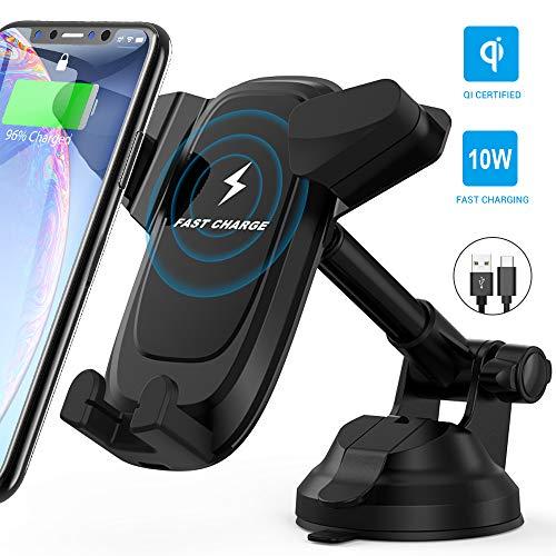 Caricatore Wireless Auto, Avolare Caricabatterie Ricarica Rapida Regolabile con Ventosa 10 W per Galaxy S10/S10+/S9/S8/S7/Note 9/8;7.5 W per iPhone 11/XS/XS Max/XR/X/8/8 Plus;5 W con 1*Cavo USB C 0.8M