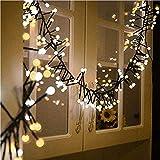 YMing LED Kugel Lichterkette Innen, 3M 8 Modes Weihnachtslichterkette mit 400 Romantische Deko Kugeln Lichter für Weihnachten, Innen, Außen,Garten, Balkon, Fenster,(warm weiß+weiß) (Niederspannung)
