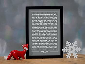 Ed Sheeran, 'Perfect' - Contemporary Typography Song Words Print Framed & Personalised - Special Song Gift Perfect For Him, Her Or Couple 0