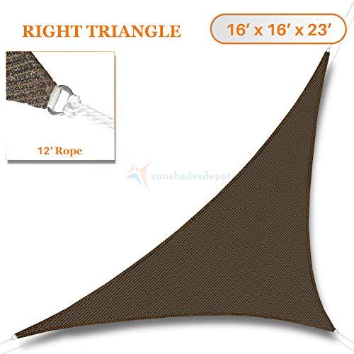 SONNENSCHIRME Depot Sun Segel rechts Triangle wasserdurchlässig Himmel braun Kaffee Benutzerdefinierte Größe erhältlich Commercial Standard -