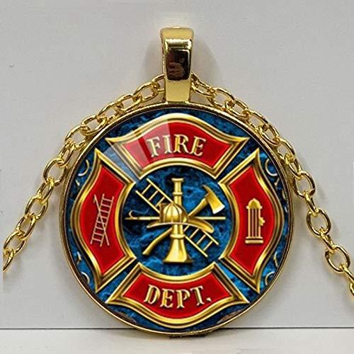 Feuerwehrmann Symbol Glas Mode Anhänger Halskette Diy Handgemachte Feuer Dept Schmuck Vintage Charms Trendige Männer Frauen Geschenk
