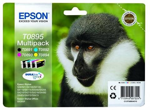 Epson Original T0895 Affe, wisch- und wasserfeste Tinte (Multipack, 4-farbig) (CYMK)