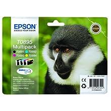 Epson T08954010 Ink Cartridge for S20/SX100 Series Printer, Black/Cyan/Magenta/Yellow, Genuine, Amazon Dash Replenishment Ready