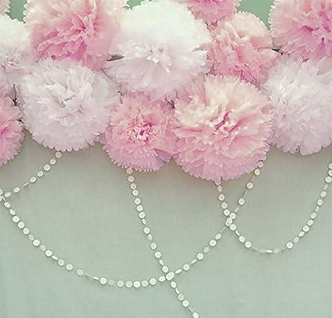 Furuix 8pcs White Mixed Baby Pink Tissue Pom Pom Paper Flower with 2 pcs White Paper Mini Circle Garland for Baby Girl Shower Wedding Birthday Celebration Bridal Shower