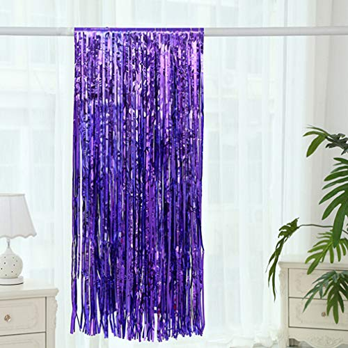 Weiy Folien-Fransenvorhänge Türvorhänge Streifenvorhang Flash-Vorhang Geburtstagsfeier Dekorativ, lila (Lila Dip-spaß)