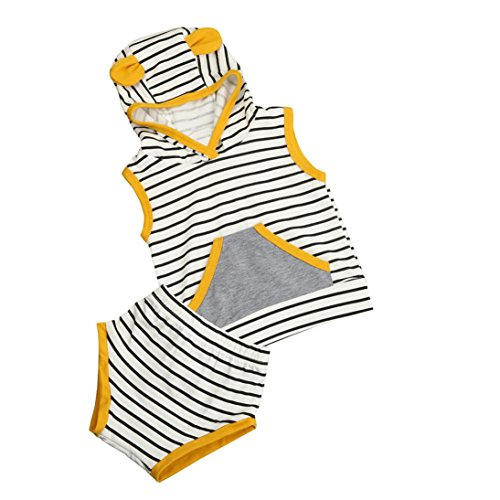 Bekleidung Longra Säugling Baby Jumgen Sommer Kleidung gestreift mit Kapuze T Shirt Tops + Shorts Hose Kleiderset Outfits (0-24Monate) (100CM 24Monate, multicolor) (Booty Top Shorts)
