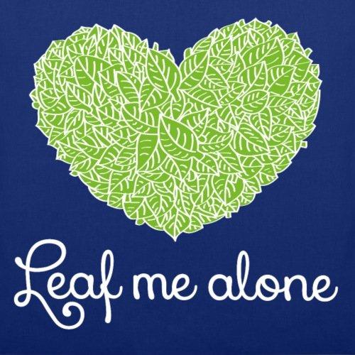Spreadshirt Anti-Valentinstag Leaf Me Alone Blätter Herz Stoffbeutel Royalblau