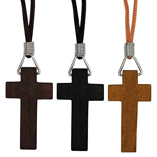 SoulCats® Kreuzanhänger aus Holz in drei Farben Kruzifix Kreuz Kette , Farbe:dunkelbraun
