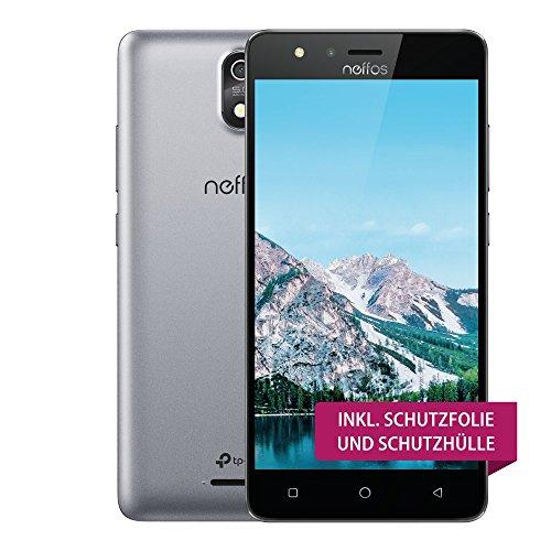 TP-Link Neffos C5s 4G/LTE Smartphone für Einsteiger, 5 Zoll FWVGA Display (12,70cm), 8GB Speicher, Dual Sim, 5MP Kamera, Android 7.0 (Smart NFUI), Cloudy Grey, Grau, günstig ohne Vertrag