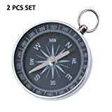 Lukzer Aluminum Mini Keychain Ring Precise Compass Metal Accurate Compact Outdoor Hiking 2