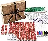 Jaques of London Bingo - Bingo Spiele Set - Bingo Karten mit Bingo Balls / Counters - komplett mit Draw Bag