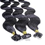 hair2heart 25 x Bonding Extensions aus Echthaar, 40cm, 0,5g Strähnen, gewellt - 1 Schwarz