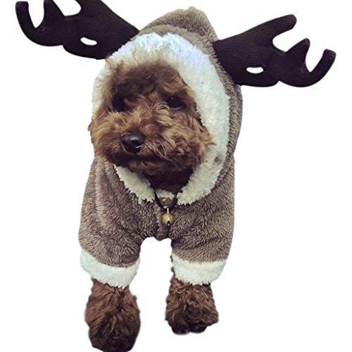 (YJZQ Hundebekleidung Winter Warm Hundemantel Weihnachten Verkleidung Cosplay Kostüme Weich Fleece Hundejacke mit Kapuze Hundepullover für Kleine und Mittler Hunde)