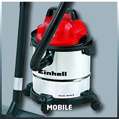 Einhell - TC-VC 1812 S - Aspirador seco - húmedo, 12 l, 1250 vatios, 80 dB, inox (ref. 2342370)