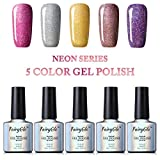 Fairyglo Vernis Gel Semi-Permanent Ensembles de Vernis à Ongles Gel Métallique UV Couleur LED Soak Off Kit 5PCS x 10ML
