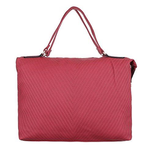 Damen Tasche, Schultertasche, Mittelgroße Handtasche, Kunstleder, TA-J824 Rot