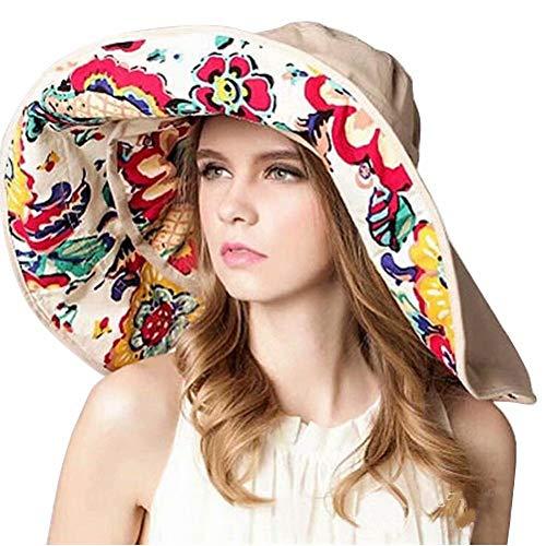 Flywill Faltbarer Sonnenhut Sommerhut UPF 50+ Damen Shade Sonnenhut mit Breite Krempe UV-Schutz Blumenmuster Hut aus Baumwolle mit Schaltfläche Anti-UV Hat, Beige
