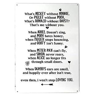 Whats Mickey ohne Minnie Valentine Gedicht (weiß) Rhyme A4Metall Schild Art Wand