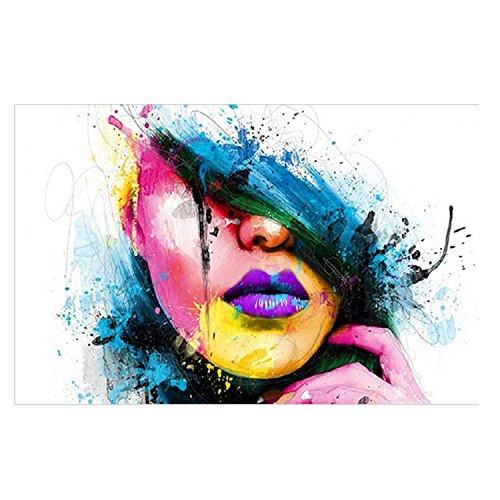 Gosear Abstrakt Kunst Stil Lady Gesicht Gedruckt Leinwand Dekoration Wand Kunst für Startseite Leben Zimmer Schlafzimmer Office Hotel Pub L